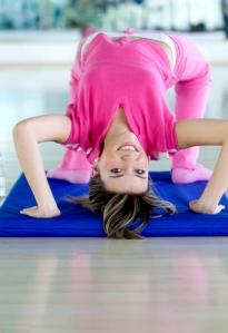 Gym girl bending backwards